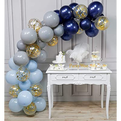 PartyWoo Navy Blue and Gold Balloons, 50 pcs 12 inch Navy Blue and Gold Confetti Balloons, Gray and Baby Blue Balloons, Gray and Navy Blue Balloons, Blue Gold Balloons for Navy Blue Party Decorations: Toys & Games