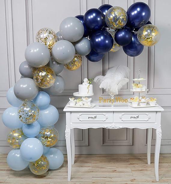 PartyWoo Globos Azules Grises 50 Piezas 12 Pulgadas Globo Gris Azul Marino Globos Azul Bebé y Confeti Dorado Decoraciones de Baby Shower para Niños, ...