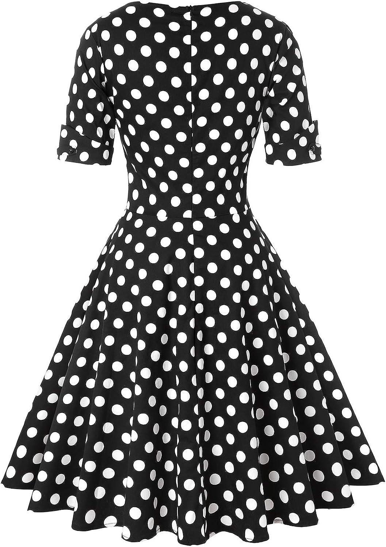 MINTLIMIT Damen 1950s Vintage Tiefer V-Ausschnitt Halbe /Ärmel Retro Cocktail Schwingen Kleid