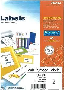 Multi Purpose Labels Sticker A4 Size 2 lables \ Sheet, 100 Sheets, Formtec