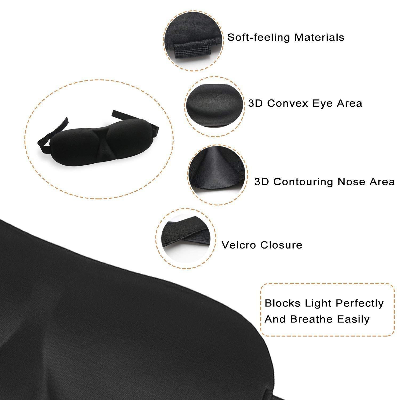 3D Eye Mask Sleeping Masks Eye Shades Eye Blinders for Soft Travel Sleep Rest, Nap, Shift Works 3 Pack (Black)