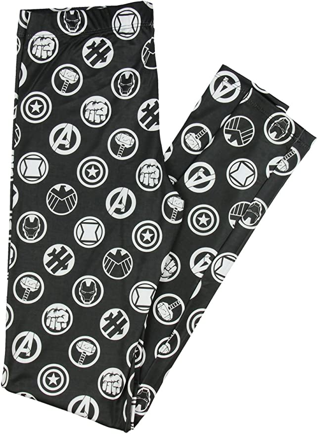 Marvel Comics AVENGERS ICON ALL OVER PRINT LEGGINGS Black /& White Her Universe