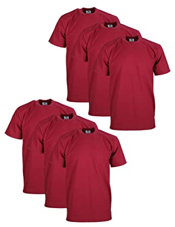 ad567c8b6 Amazon.com: Pro Club Men's 6-Pack Heavyweight Cotton Short Sleeve Crew Neck  T-Shirt, Burgundy, Medium: Clothing