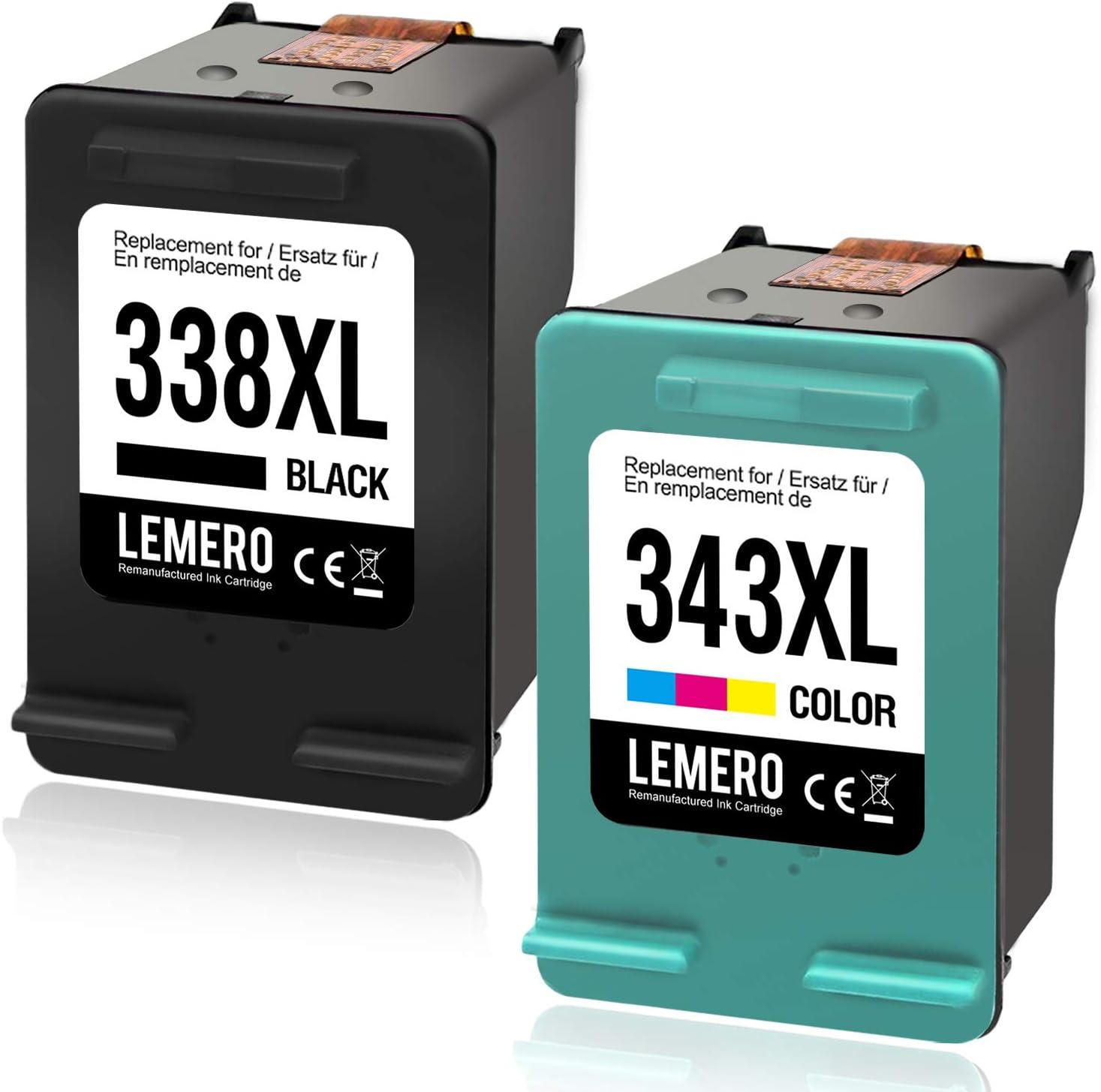 Lemero Reemplazo 338XL 343XL remanufacturado para cartuchos de tinta HP 338 XL 343 XL para HP Photosmart C3180,2710,7850,8150,PSC,1610,2355,OfficeJet 100,150 Negro: Amazon.es: Oficina y papelería