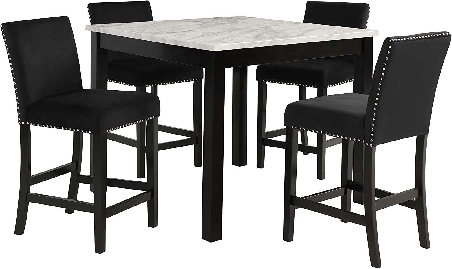 New Classic FURNITURE Celeste 5-Piece Marble Finish Counter Table with Four Chairs, 42-Inch, Black