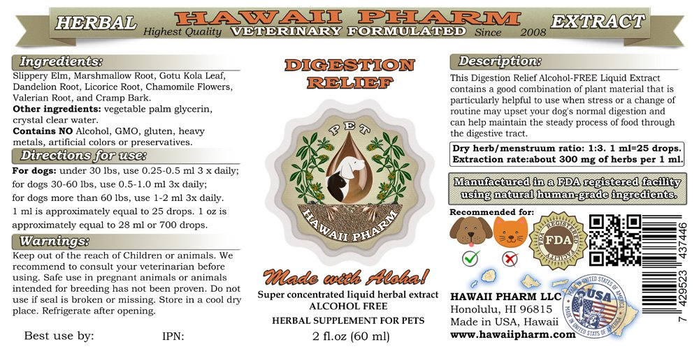 Digestion Relief for Dogs, VETERINARY Natural Alcohol-FREE Liquid Extract, Pet Herbal Supplement 2 oz by HawaiiPharm (Image #2)