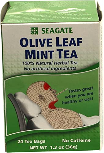 Seagate Products Olive Leaf Herbal Mint Tea 24 Count Pack of 2