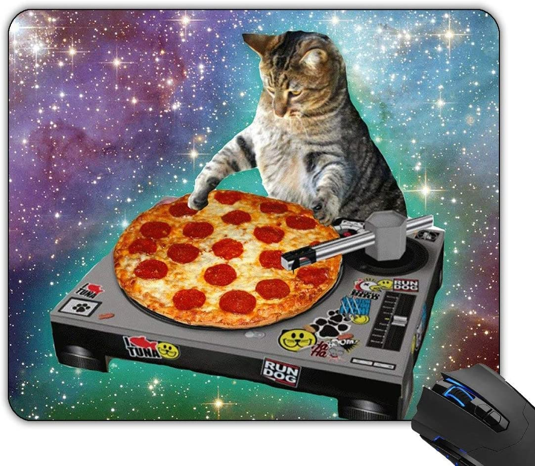 New Top Funny Space Cat and Pizza Rectangle Non-Slip Rubber Mouse Pad Mousepad Mat