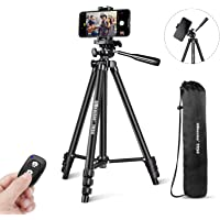 """UBeesize Phone Tripod, 51"""" Adjustable Travel Video Tripod Stand with Cell Phone Mount Holder & Smartphone Bluetooth…"""