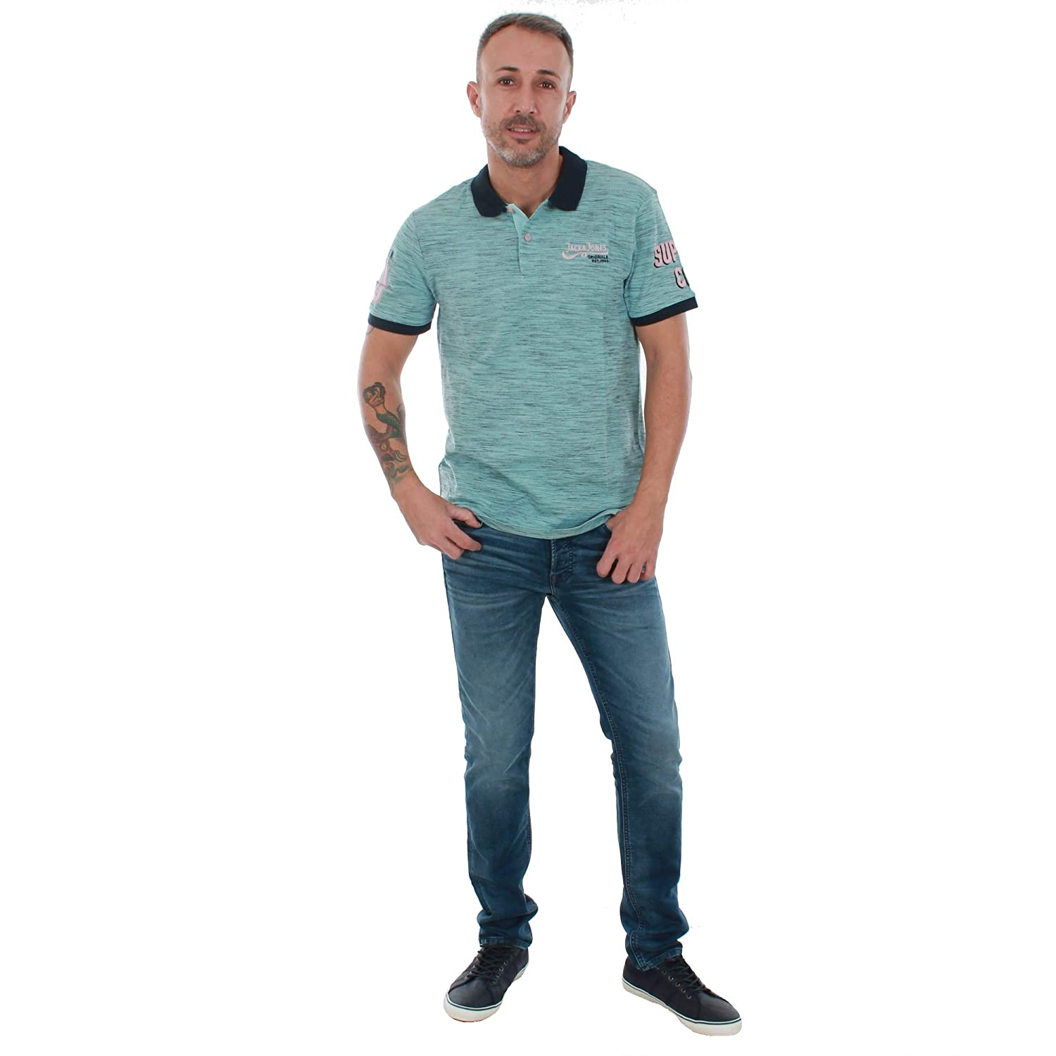 JACK & JONES Polo Hombre Verde 12147813 JORSOFA Polo SS Plume Slim ...