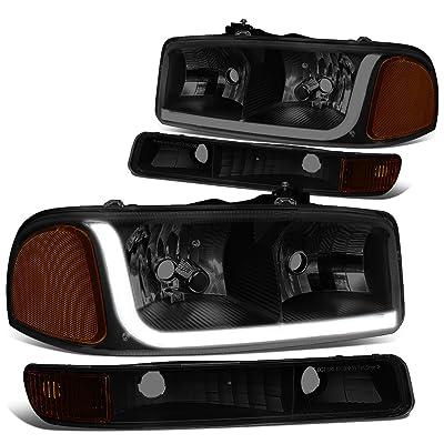 DNA Motoring Black smoked amber HL-LB-SIERRA99-BK-SM-AM 4PCs LED DRL Strip Headlight+Bumper Lamp[99-07 GMC Sierra/Yukon]: Automotive