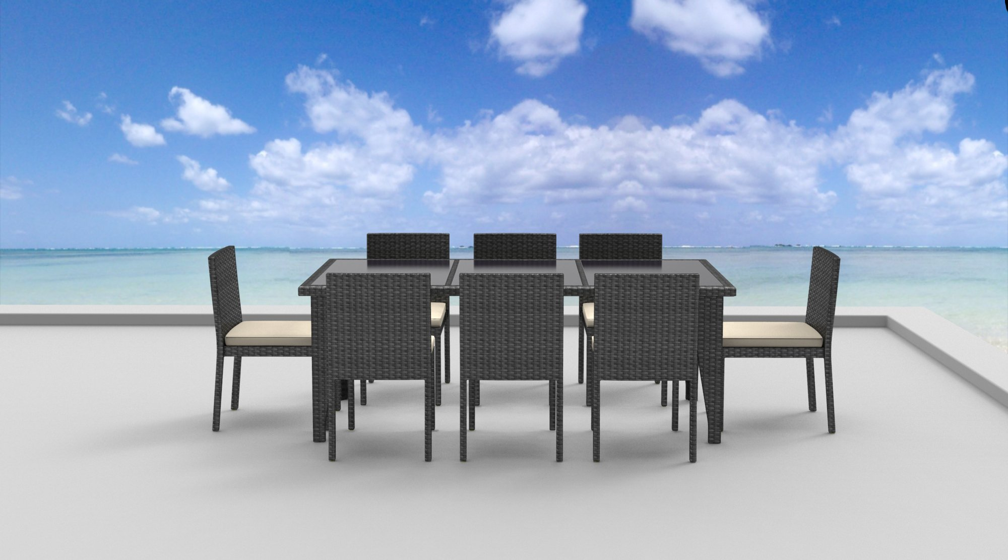 UrbanFurnishing.net - 9 Piece Wicker Outdoor Patio Dining Set - Gray Wicker/Beige - Sleek Ultra Modern Wicker Design with Gradient Shades of Grays Chairs are stackable and comes with detachable cushions. Cushions are comfortable, water resistant and easy to maintain with built-in zipper for easy removal and cleaning. - patio-furniture, dining-sets-patio-funiture, patio - 71P6S9y TXL -
