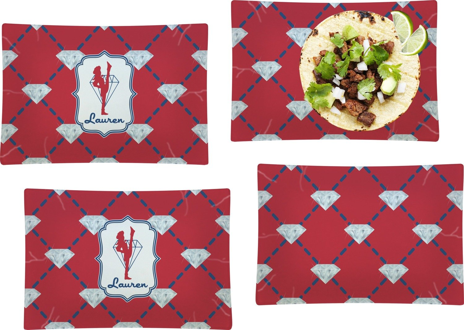 Red Diamond Dancers Set of 4 Rectangular Dinner Plates (Personalized)