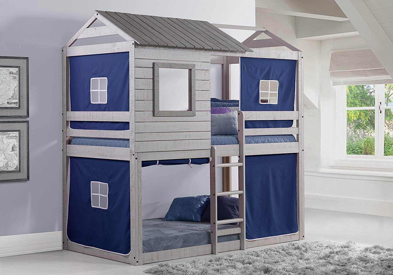 Donco Kids Deer Blind Bunk Loft Bed Tent, Twin Twin, Light Grey Blue