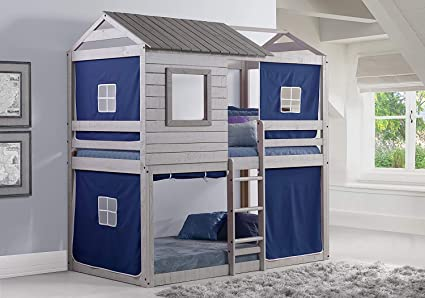 Donco Kids 1370 TTLG 1370 DB Deer Blind Bunk Loft Bed With Blue Tent Twin Twin Light Grey