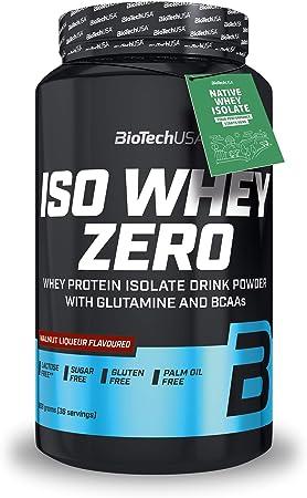 BioTech IsoWhey Zero Proteínas de Suero de Leche, Sabor Nueces Al Ron - 908 gr