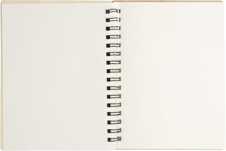 11,4 x 14,7 cm Spiral-Notizbuch mit Holzeinband 4er-Pack