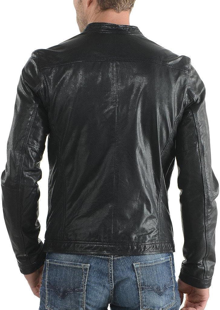 Men Leather Jacket Biker Motorcycle Coat Black Slim Fit Outwear Jackets KL021