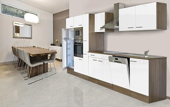 respekta Unidad integrada de Cocina Cocina Isla 370 cm Color Blanco Roble York Horno/Microondas botiquín lavavajilla: Amazon.es: Hogar