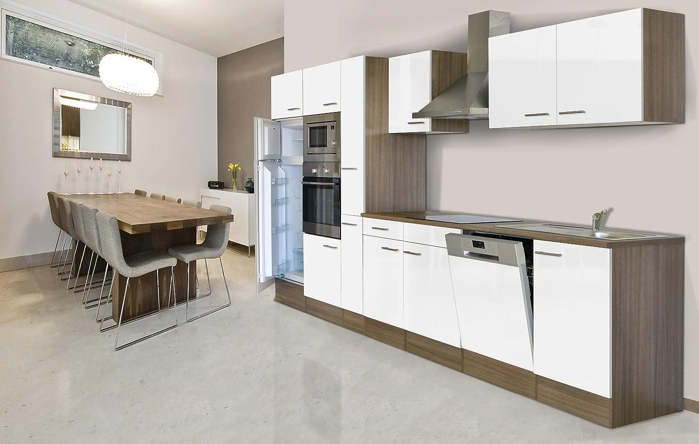 respekta Küchenleerblock Küche Leerblock Küchenzeile 370 cm Eiche York Grau