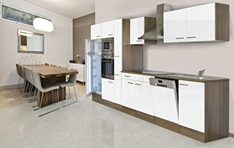 respekta Unidad integrada de Cocina Cocina Isla 370 cm Color Blanco Roble York Horno/Microondas