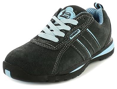 Neu Damen/Damen Grau/Blau Tradesafe Lastkahn Schnürbar Sicherheitsschuhe grau/blau - UK GRÖßEN 3-8 - , 36, Grau/Blau