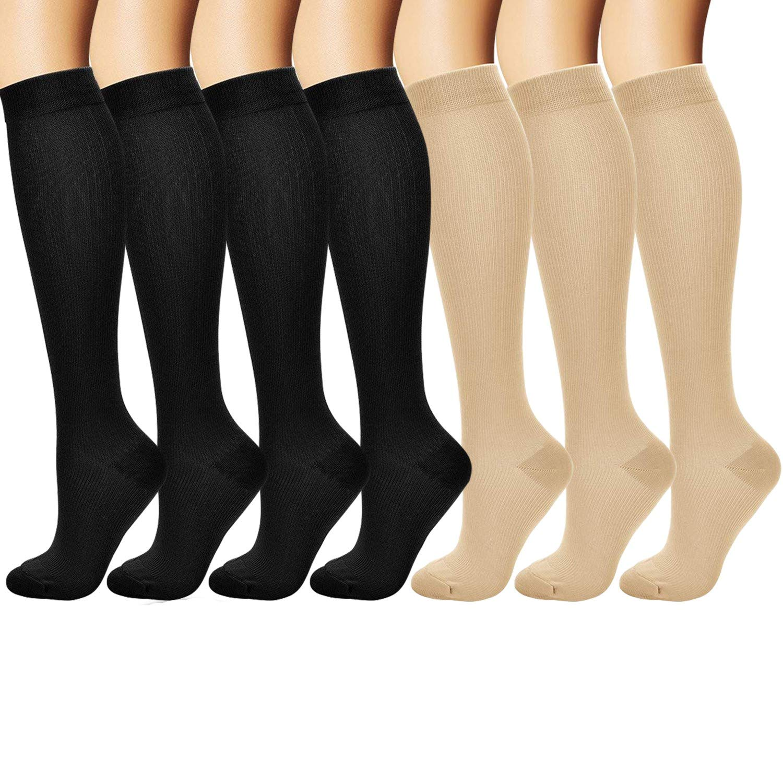 7pair Xmas Printing Unsex Compression Socks Running Sports Calf Length Stockings