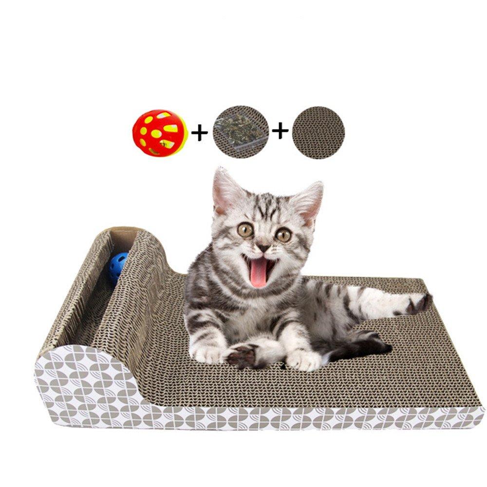 Papier ondulé Griffoir avec boule de Bell gratuit à herbe à chat pour chat  Idéal pour meubles Saver griffes Care Chaton jouet Lounge  Amazon.fr   Animalerie d2c21130a0b7