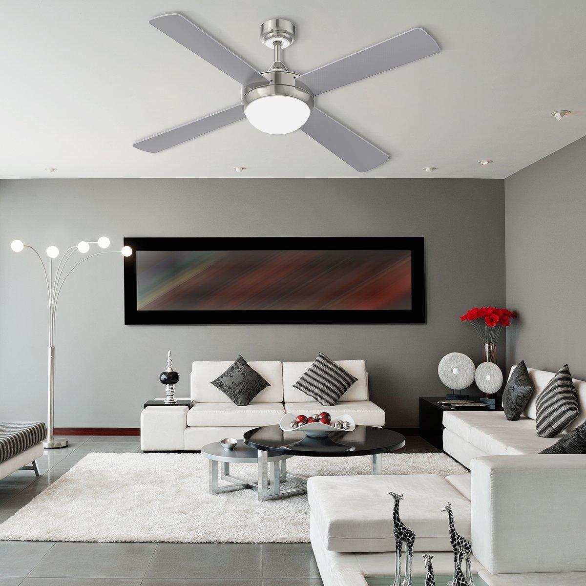 YUNLIGHTS 52 Zoll Ventilator Lampe mit 4 Klingen Deckenventilator mit Licht und Fernbedienung Reversible Rotation 6 Geschwindigkeiten