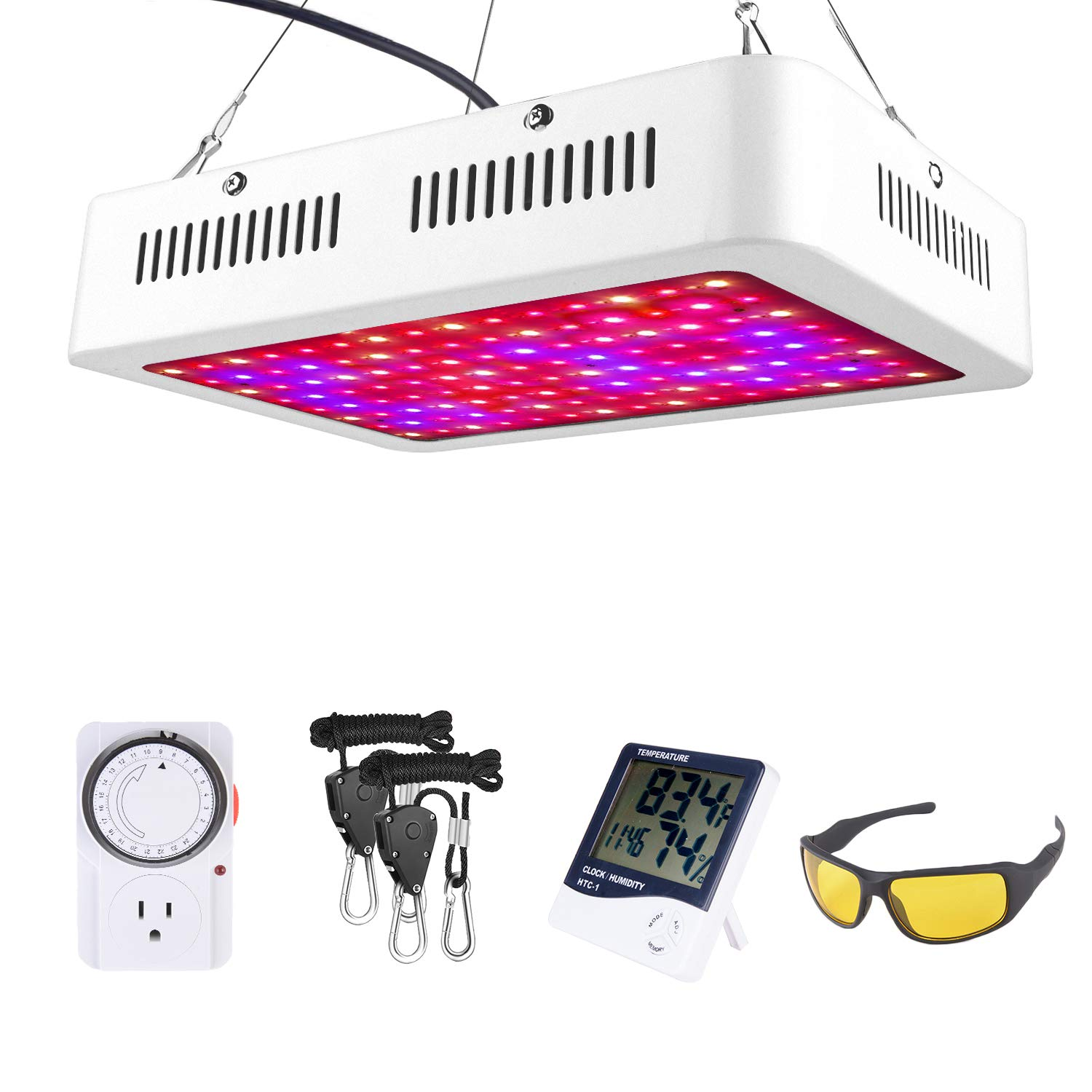 HOMENOTE Led Plant Grow Light for Indoor Plants, 1000W Grow Lamp with Thermometer Humidity Monitor, Adjustable Rope and Goggle, Full Spectrum Plant Light for Flower All Phases of Plant Growth
