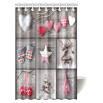 InterestPrint Christmas Decorations Shower Curtain Collage Of Photos Over Vintage Grey Wood Fabric Bathroom