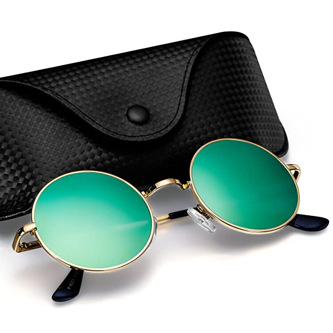 Retro Round Sunglasses Women Vintage Circle Metal Sunglasses Spring Temple Men Lovely Ocean Sunglasses Gold Frame Mirror Lenses Women's Sunglasses Apparel Accessories
