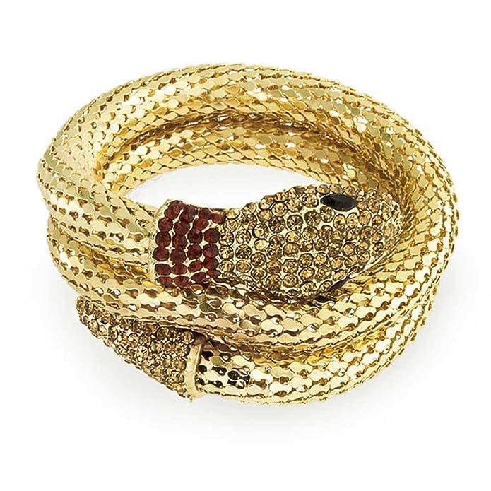 Bling Jewelry Crystal Mesh flexible Serpiente Brazalete Pulsera Chapado en  oro de envoltura: Amazon.es: Joyería