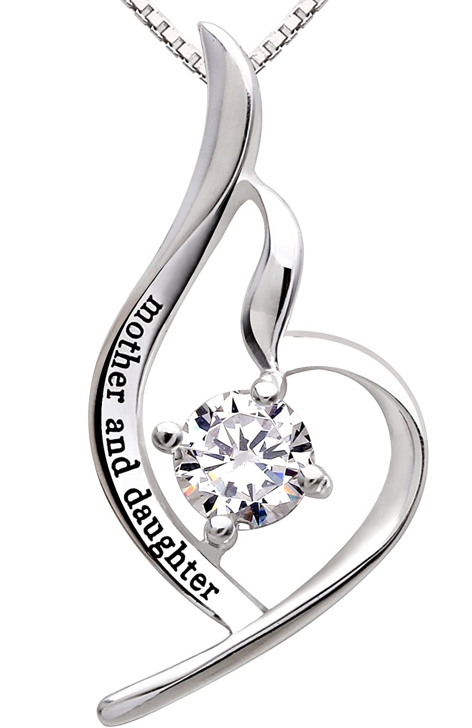Amazon alov jewelry sterling silver mother and daughter cubic amazon alov jewelry sterling silver mother and daughter cubic zirconia pendant necklace jewelry aloadofball Choice Image