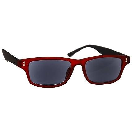 UV Reader Recubierta de Goma Rojo Negro Lectores de Sol Gafas de Lectura Dioptria +3,00 Hombres Mujeres UV400 Inc Caso UVSR033