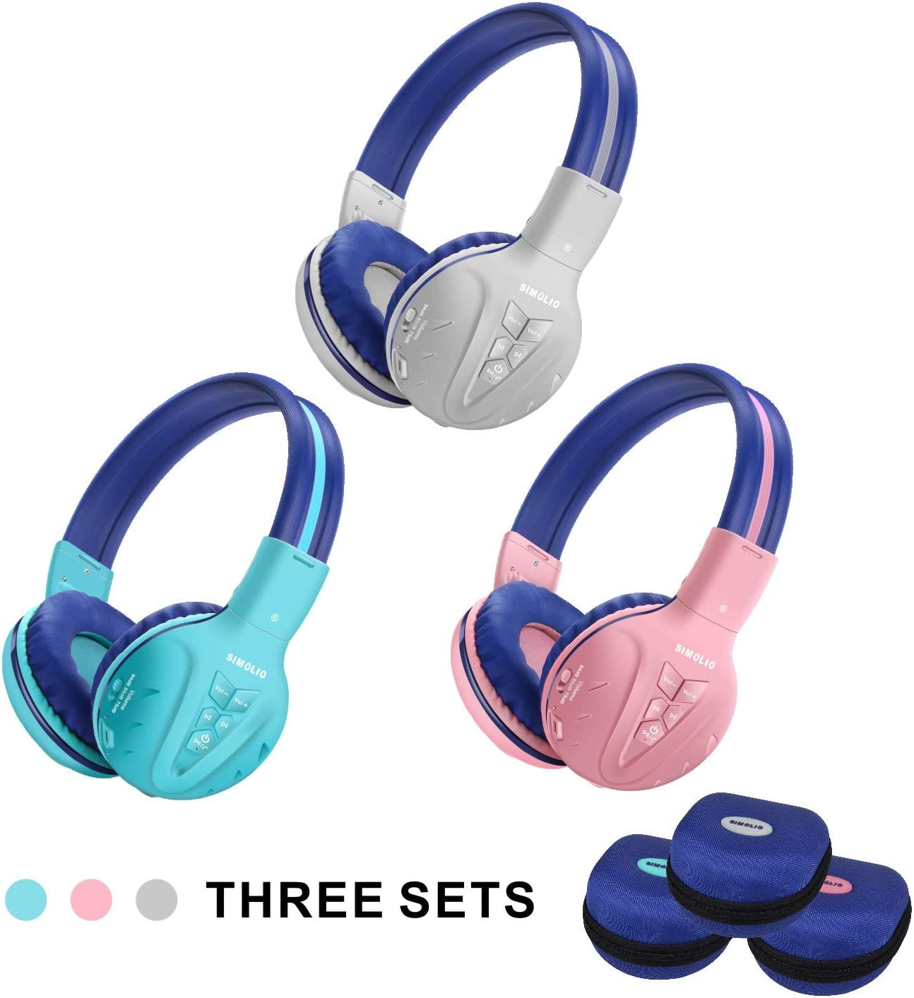 Amazon Com 3 Pack Simolio Bluetooth Headphones For Kids Hearing Protection Children Headphones Wireless Bluetooth Kids Headphone With Music Share Kids Safe Headsets For Girls Boys Wireless Headphone For Toddlers Electronics