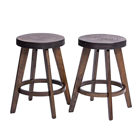 Fabulous Furgle Set Of 2 Round Counter Stool Bar Stool 24 Inch Solid Wood Backless Bar Stool Natural Bar Stool For Kitchen Island Counter Pub Or Bar Unemploymentrelief Wooden Chair Designs For Living Room Unemploymentrelieforg