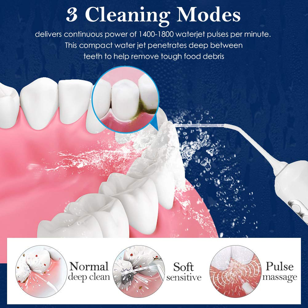 Water Flosser Cordless Teeth Cleaner, Professional Wate Flosser Oral Care for Braces Bridges Care IPX7 Waterproof Dental Flosser with 4 Interchangeable Jet Tips, Detachable Water Tank for Home Travel