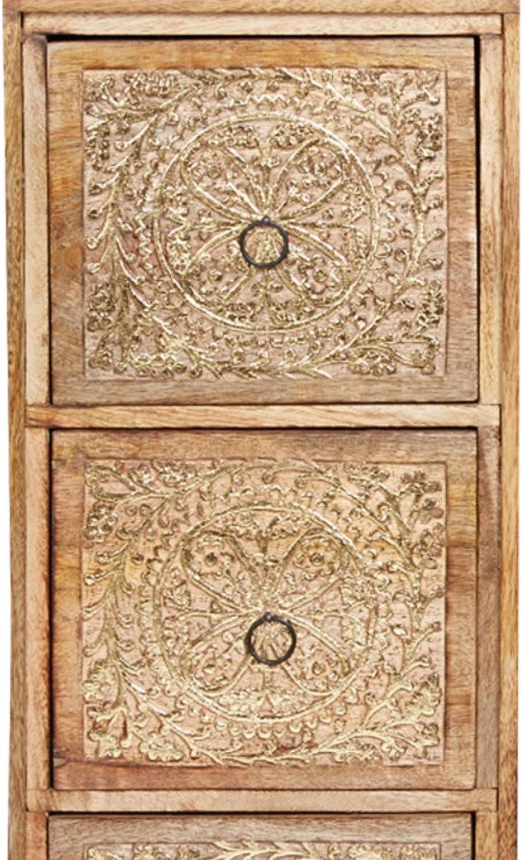 color marr/ón y dorado Mesita de noche de madera oriental para cama con somier estilo vintage mesa auxiliar para tel/éfono Marrakesch Enkidu 70 cm decoraci/ón oriental