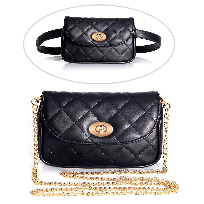 Badiya Women Fashion Quilted Vegan Leather Fanny Pack Waist Bag with Crossbody Chain
