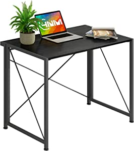 4NM No-Assembly Folding Desk Small Computer Desk Laptop Table Compact Home Office Desk Study Reading Table for Space Saving Office Table (All Black)
