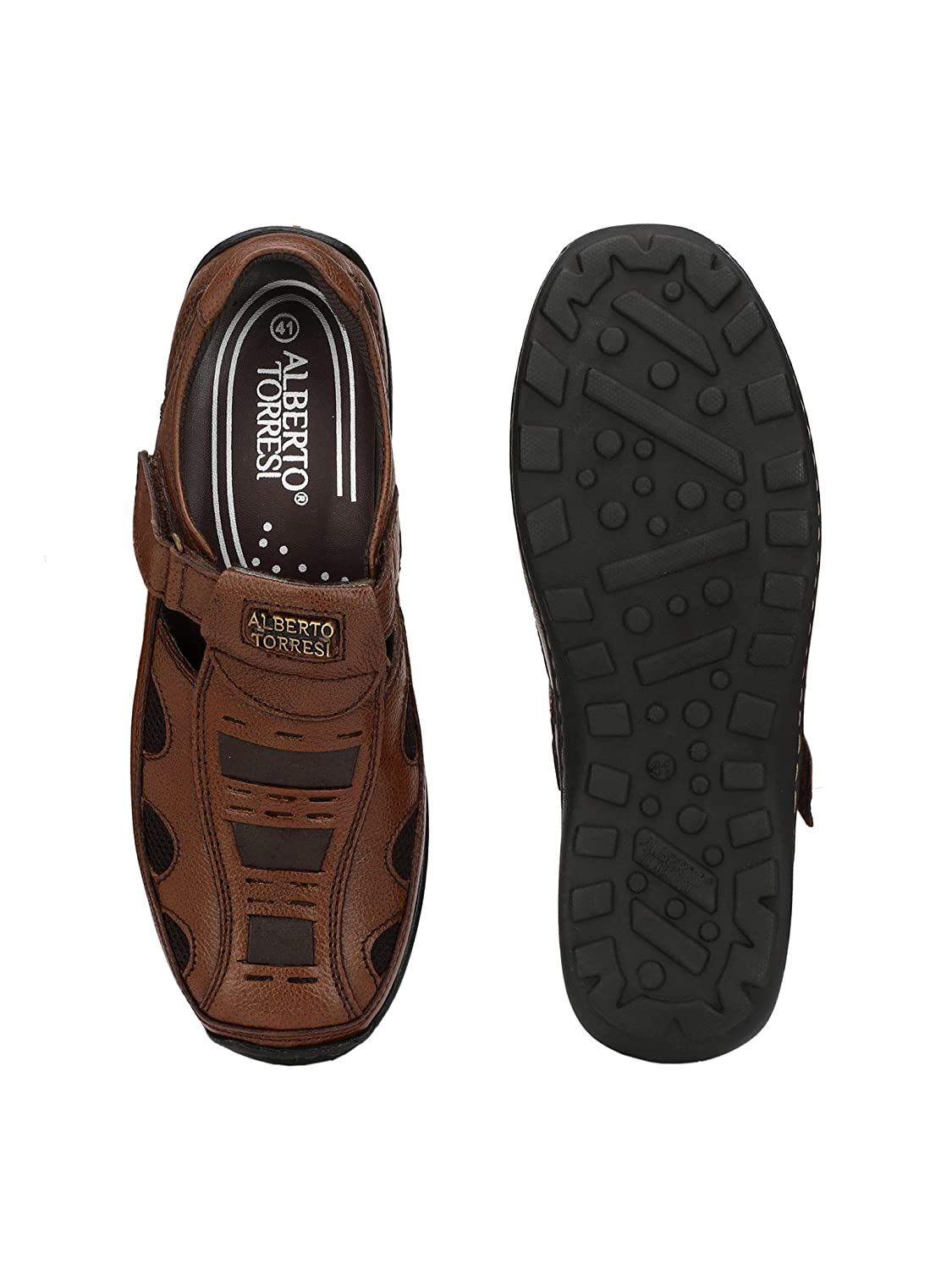 6cf0fc2eb Alberto Torresi Antonio Brown Sandals  Buy Online at Low Prices in India -  Amazon.in