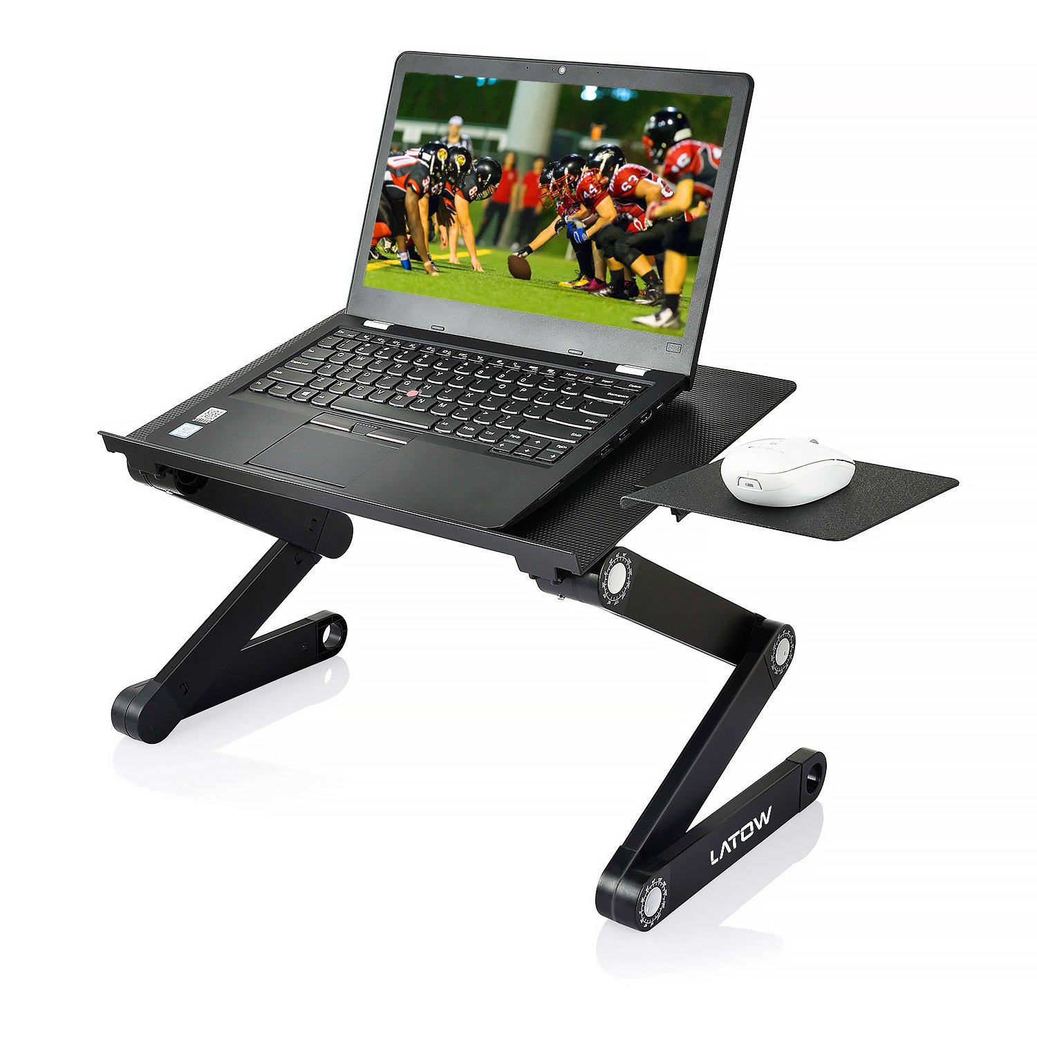 Adjustable Laptop Stand, LATOW Portable Desk with 2 Cooling Fans, 360 Degree Folding Notebook Lap Table, Mouse Board Side Mount, Lightweight Aluminum Tray,for Bed Sofa Couch Office
