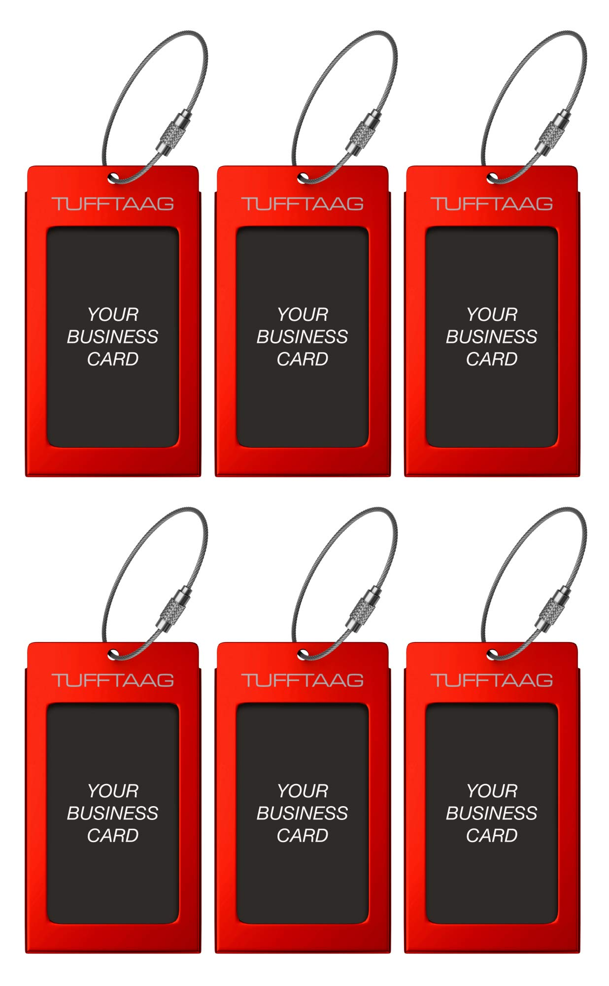 Luggage Tags TUFFTAAG for Business Cards, Metal Suitcase Labels, 6 Pack Bundle (6 Red)