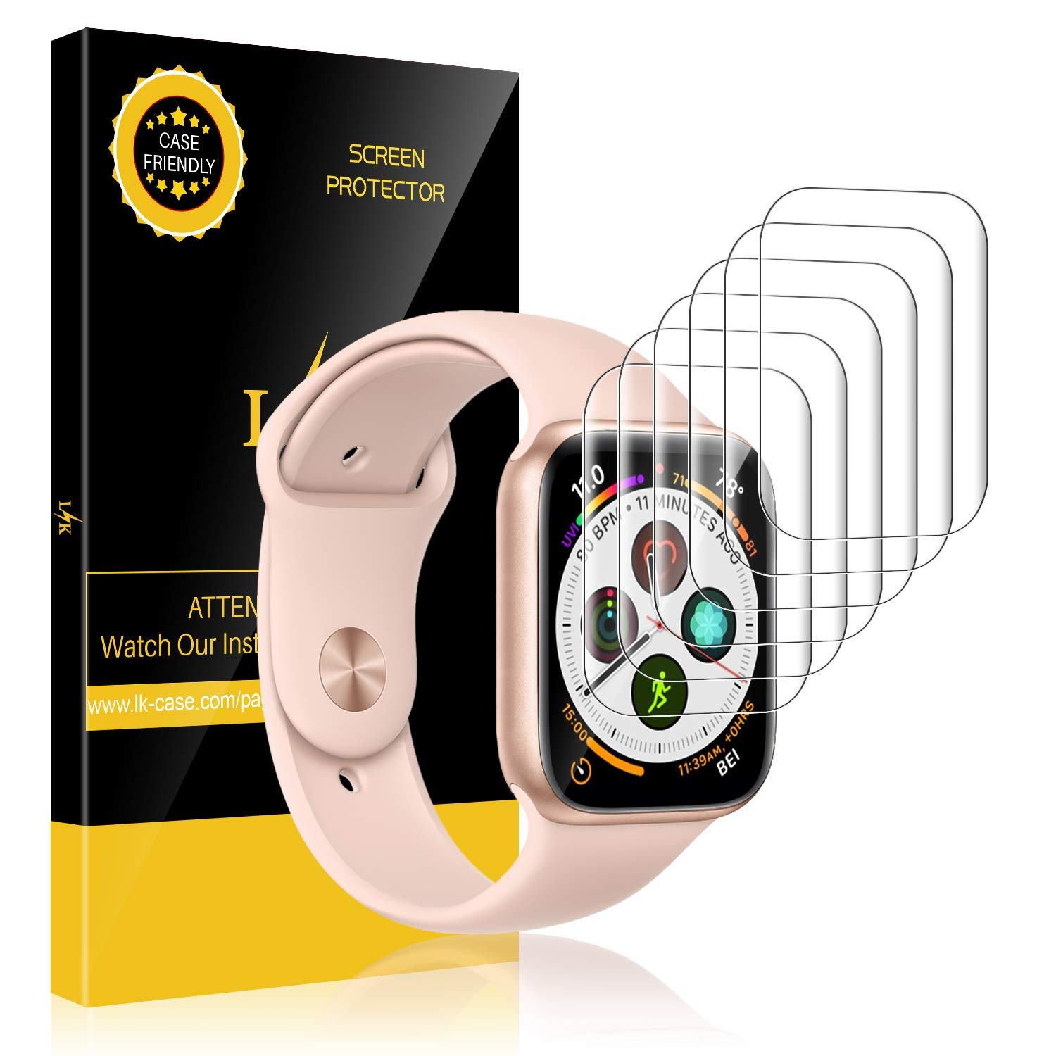 LK [6 Pack] Screen Protector for Apple Watch Series 4 44mm, [HD Clear Anti-Bubble] with Lifetime Replacement Warranty product image