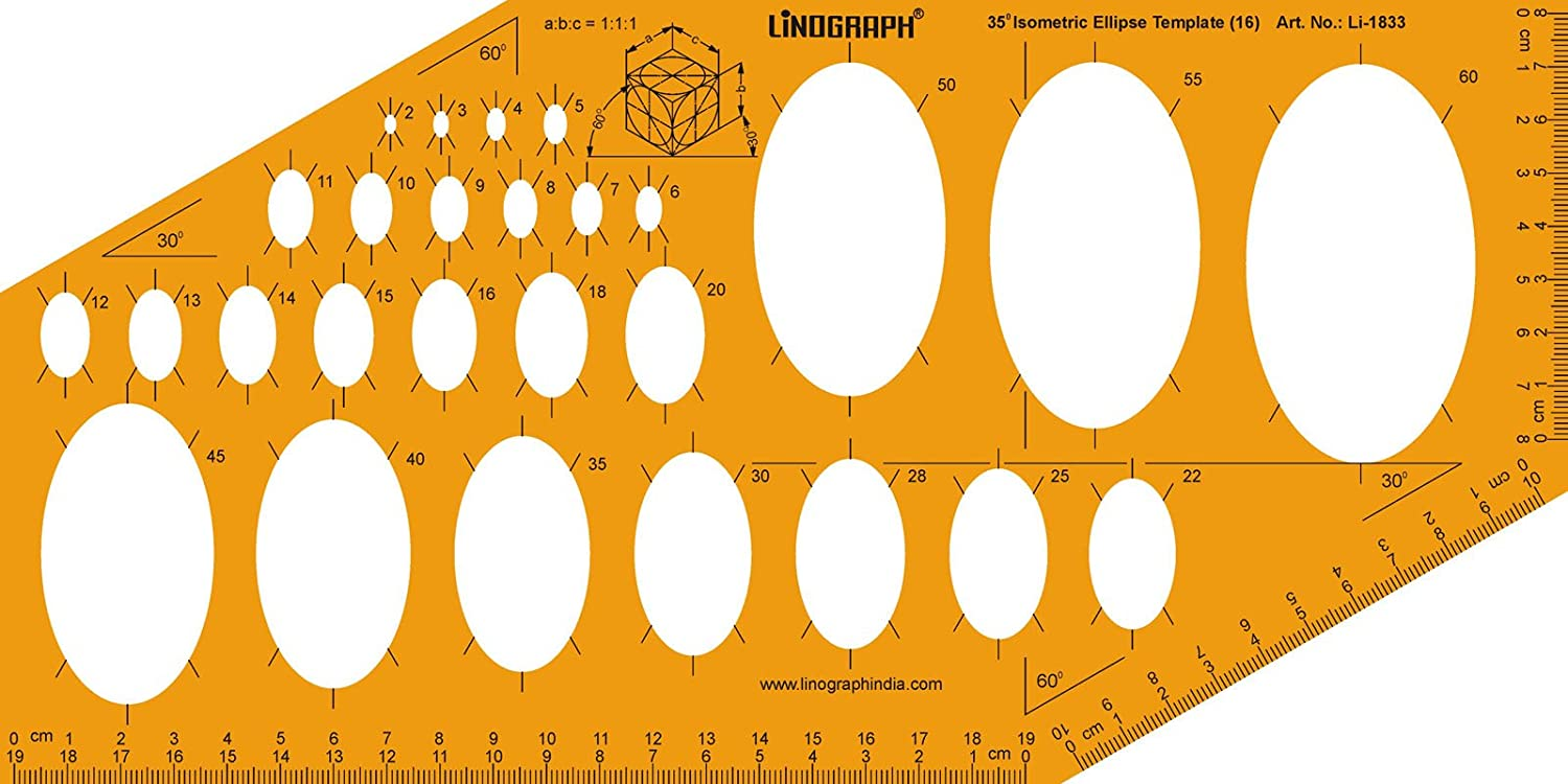 Ellipse Master Templates Drafting And Design Template Stencil Symbols Technical Drawing Scale: Arts, Crafts & Sewing
