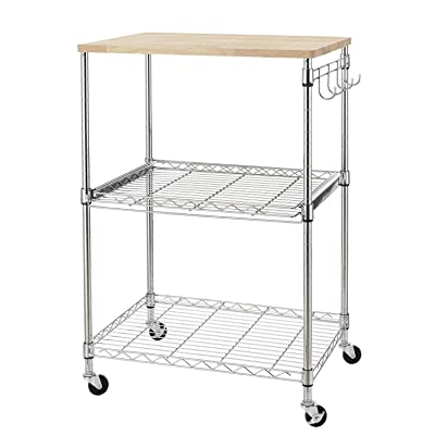 Buy Finnhomy 3 Tier Wire Rolling Kitchen Cart Food Service Cart Microwave Stand Oak Cutting Board And Chrome Online In Indonesia B01n5pxzhn