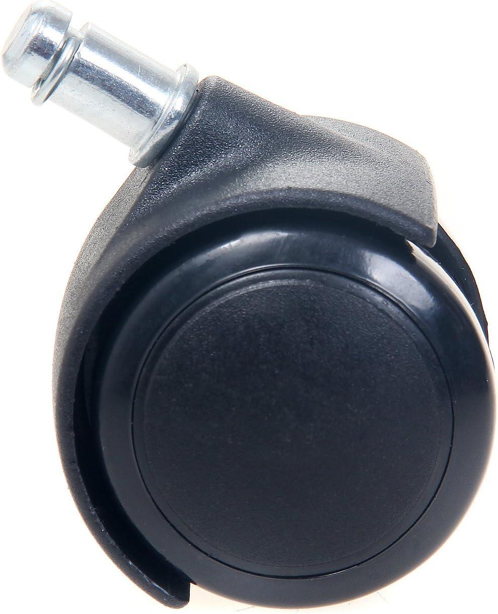 TUKA Jeu de 5 PU roulettes sols durs 11mm pour si/ège de Bureau TKD3202 Black Noir 11//50 mm Frein de s/écurit/é Externe