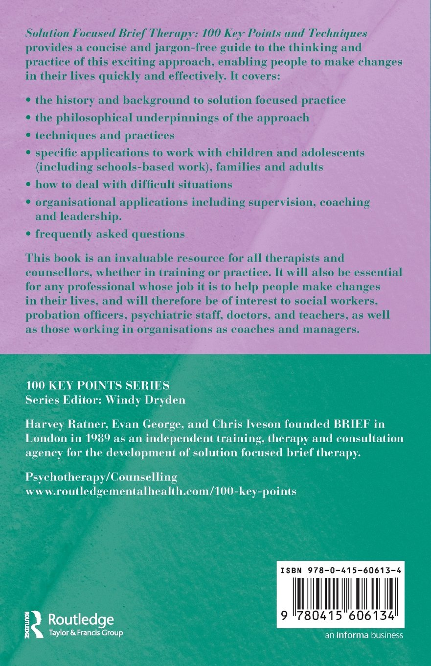 Workbooks solution focused therapy worksheets for children : Solution Focused Brief Therapy (100 Key Points): Amazon.co.uk ...