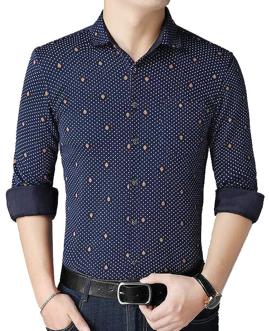 Suncolor8 Mens Long Sleeve Fashion Regular Fit Printing Button Down Dress Work Shirt
